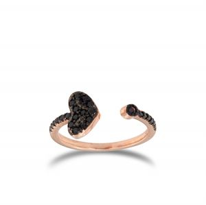 Open ring with black cubic zirconia heart - rosé plated