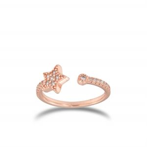 Open ring with cubic zirconia star - rosé plated