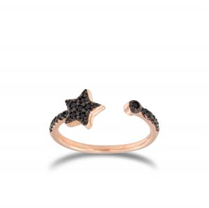 Open ring with black cubic zirconia star - rosé plated