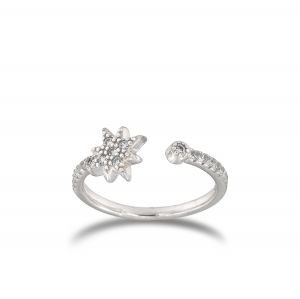 Open ring with cubic zirconia North star