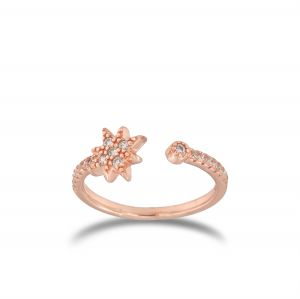 Open ring with cubic zirconia North star - rosé plated