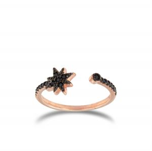 Open ring with black cubic zirconia North star - rosé plated