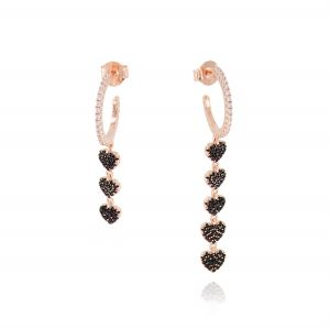 White cubic zirconia hoop earrings with black pendant hearts - rosé plated