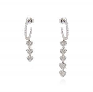 White cubic zirconia hoop earrings with pendant hearts