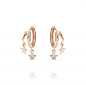 Hoop earrings with glossy and cubic zirconia stars - rosé plated