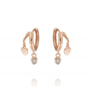 Hoop earrings with glossy and cubic zirconia hearts - rosé plated