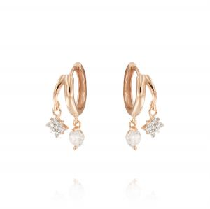 Hoop earrings with pendant north star and cubic zirconia - rosé plated