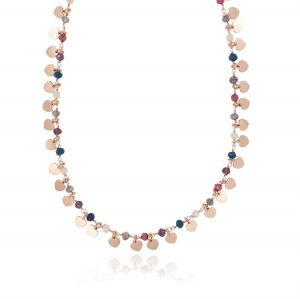 Necklace with colored stones and pendant hearts - rosé plated