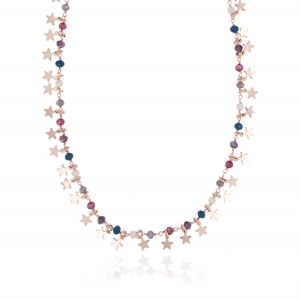 Necklace with colored stones and pendant stars - rosé plated