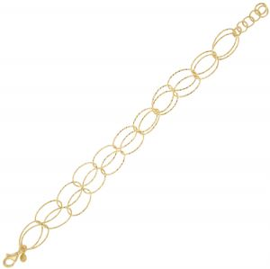 Bracelet with double row of oval diamond cut rings - gold plated