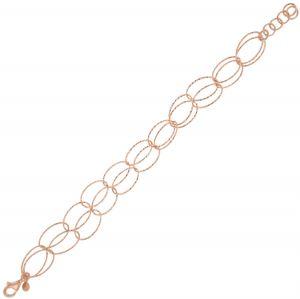 Bracciale due file di anelli ovali diamantati - placcato rosé