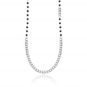 Necklace with black stones and curb chain