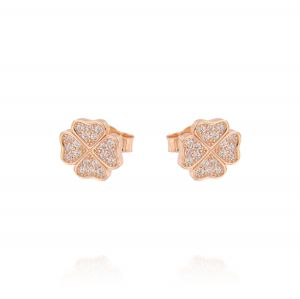 Quatrefoil earrings with cubic zirconia - rosé plated