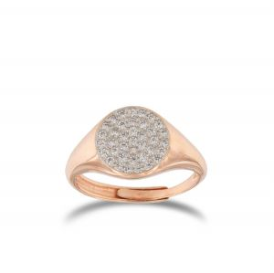 Chevalier ring with white cubic zirconia - rosé plated