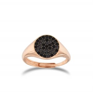 Chevalier ring with black cubic zirconia - rosé plated