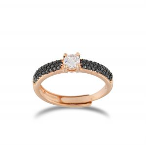 White solitaire ring with black cubic zirconia - rosé plated
