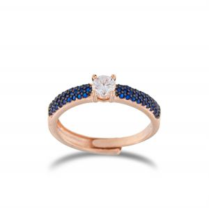 White solitaire ring with blue cubic zirconia - rosé plated