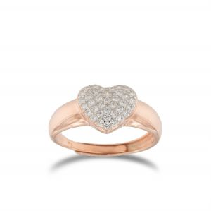 Heart-shaped chevalier ring with white cubic zirconia - rosé plated