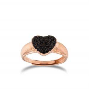 Heart-shaped chevalier ring with black cubic zirconia - rosé plated