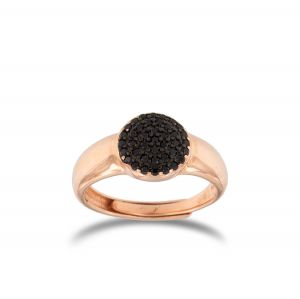 Relief disc ring with black cubic zirconia - rosé plated