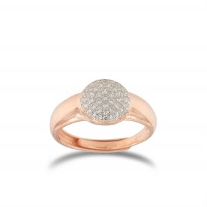 Relief disc ring with white cubic zirconia - rosé plated