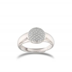 Relief disc ring with white cubic zirconia