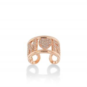 """""""AMORE"""" ring with white cubic zirconia - rosé plated"""