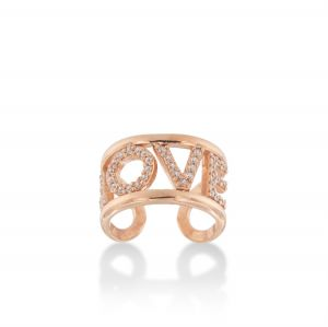 """LOVE"" ring with white cubic zirconia - rosé plated"