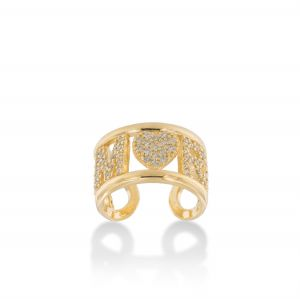 """""""AMORE"""" ring with white cubic zirconia - gold plated"""