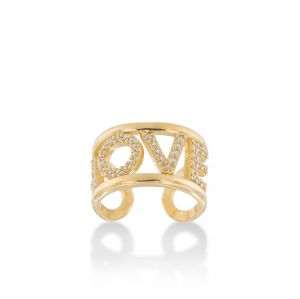 """""""LOVE"""" ring with white cubic zirconia - gold plated"""