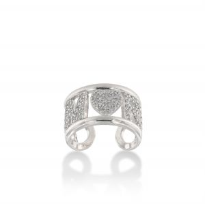 """AMORE"" ring with white cubic zirconia"
