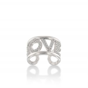 """""""LOVE"""" ring with white cubic zirconia"""