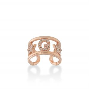 Letter and stars ring with white cubic zirconia - rosé plated