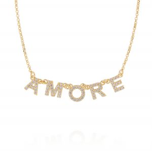 """""""AMORE"""" neckalce with white cubic zirconia - gold plated"""