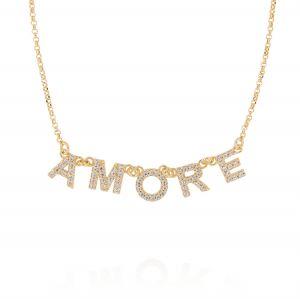 """Collana con scritta """"AMORE"""" e zirconi bianchi - placcato oro"""