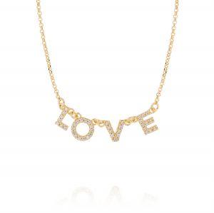 """Collana con scritta """"LOVE"""" e zirconi bianchi - placcato oro"""