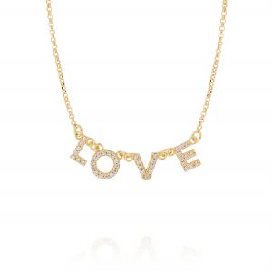 """LOVE"" neckalce with white cubic zirconia - gold plated"