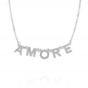 """""""AMORE"""" neckalce with white cubic zirconia"""