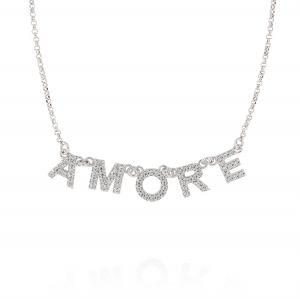 """Collana con scritta """"AMORE"""" e zirconi bianchi"""