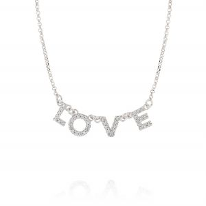 """Collana con scritta """"LOVE"""" e zirconi bianchi"""
