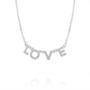 """LOVE"" neckalce with white cubic zirconia"