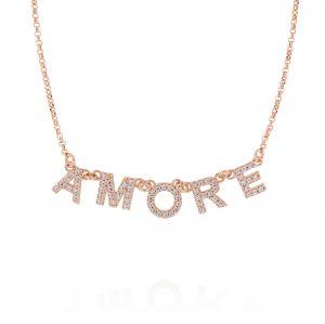 """Collana con scritta """"AMORE"""" e zirconi bianchi - placcato rosé"""