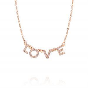 """Collana con scritta """"LOVE"""" e zirconi bianchi - placcato rosé"""