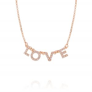 """""""LOVE"""" neckalce with white cubic zirconia - rosé plated"""