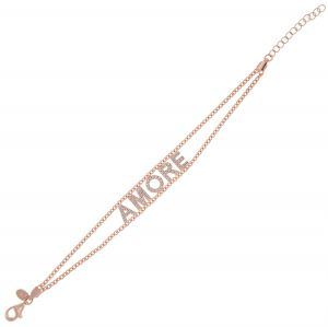 """""""AMORE"""" bracelet with white cubic zirconia - rosé plated"""