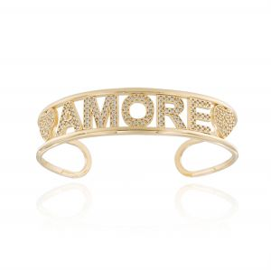 """""""AMORE"""" open rigid bracelet with white cubic zirconia - gold plated"""