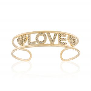 """""""LOVE"""" open rigid bracelet with white cubic zirconia - gold plated"""
