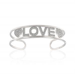 """LOVE"" open rigid bracelet with white cubic zirconia"
