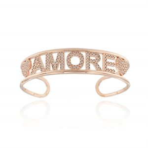 """AMORE"" open rigid bracelet with white cubic zirconia - rosé plated"