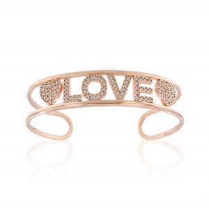 """LOVE"" open rigid bracelet with white cubic zirconia - rosé plated"